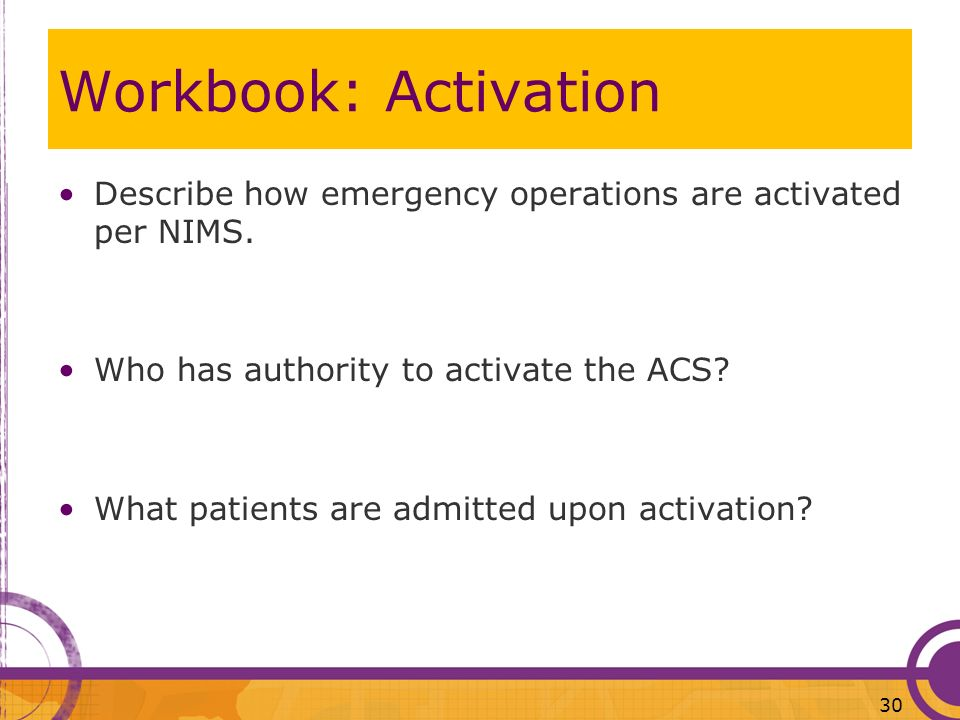 Workbook: Activation Describe how emergency operations are activated per NIMS. Who has authority to activate the ACS
