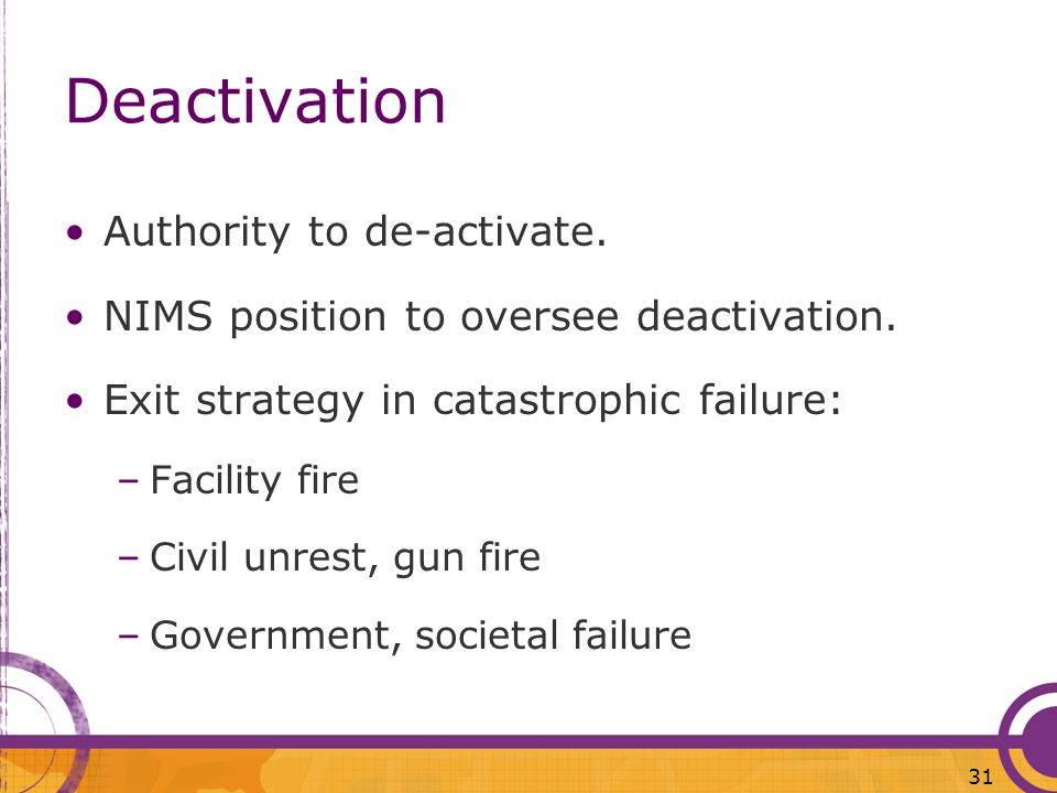 Deactivation Authority to de-activate.