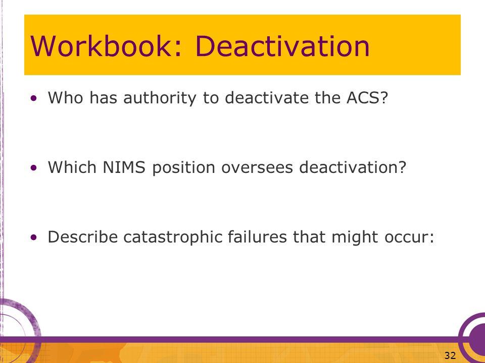 Workbook: Deactivation