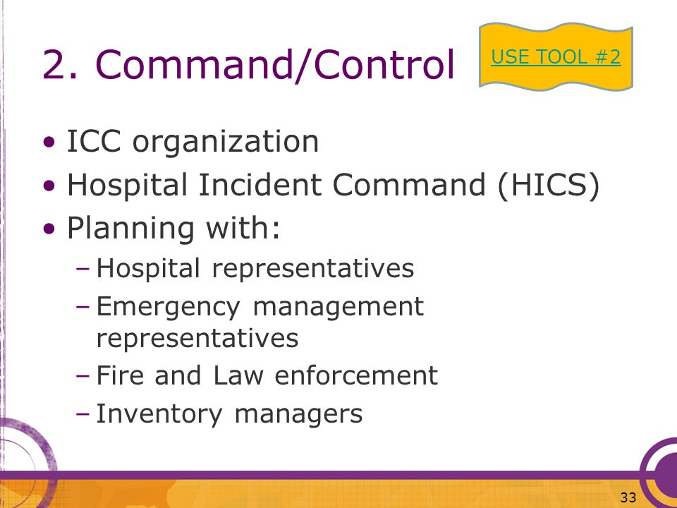 2. Command/Control ICC organization Hospital Incident Command (HICS)