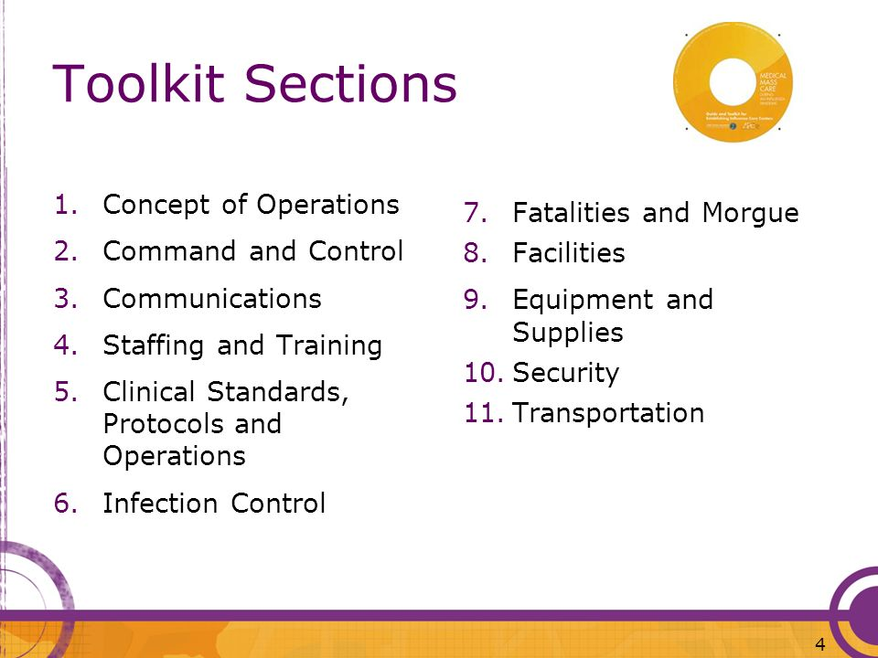 Toolkit Sections Concept of Operations Fatalities and Morgue