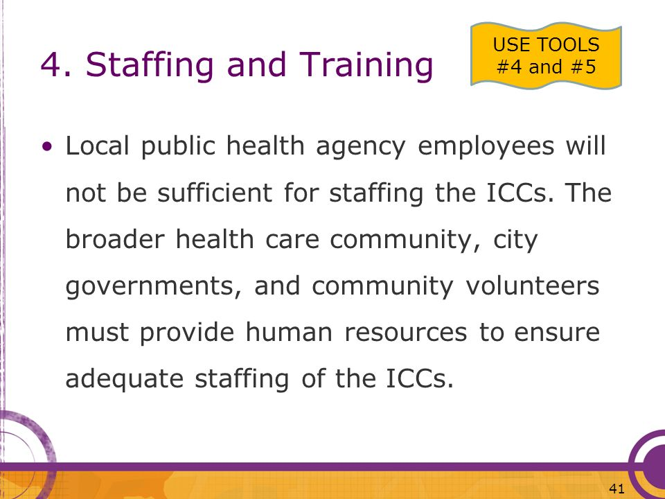 4. Staffing and TrainingUSE TOOLS #4 and #5.