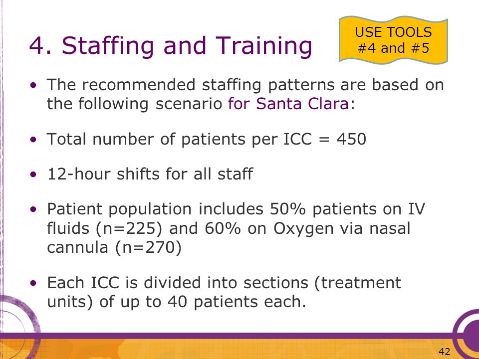 4. Staffing and Training USE TOOLS #4 and #5. The recommended staffing patterns are based on the following scenario for Santa Clara: