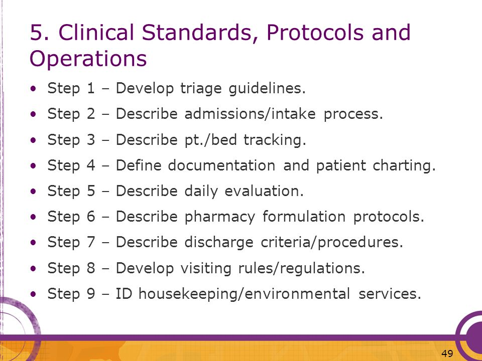 5. Clinical Standards, Protocols and Operations