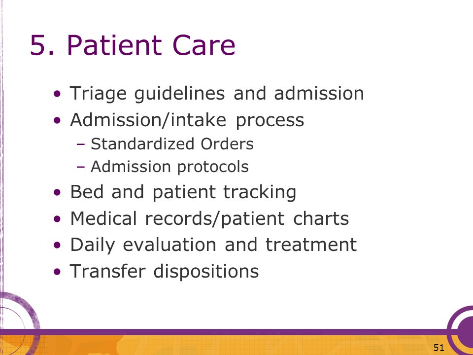 5. Patient Care Triage guidelines and admission
