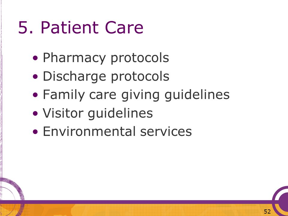 5. Patient Care Pharmacy protocols Discharge protocols
