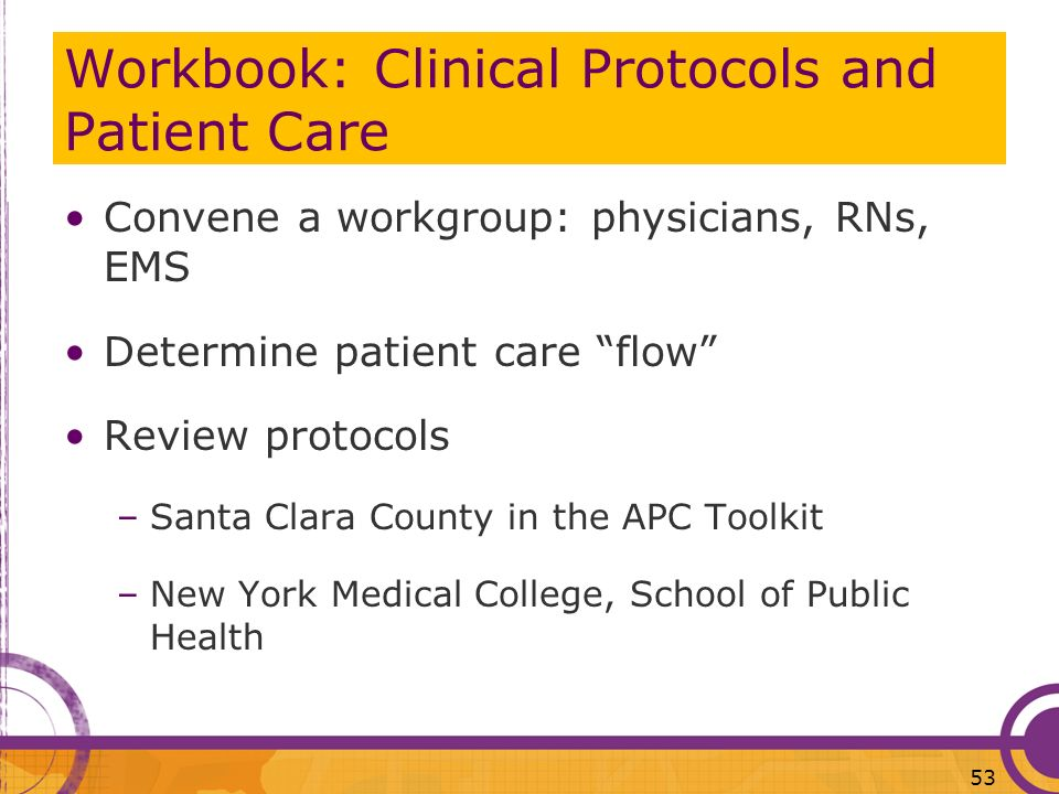 Workbook: Clinical Protocols and Patient Care