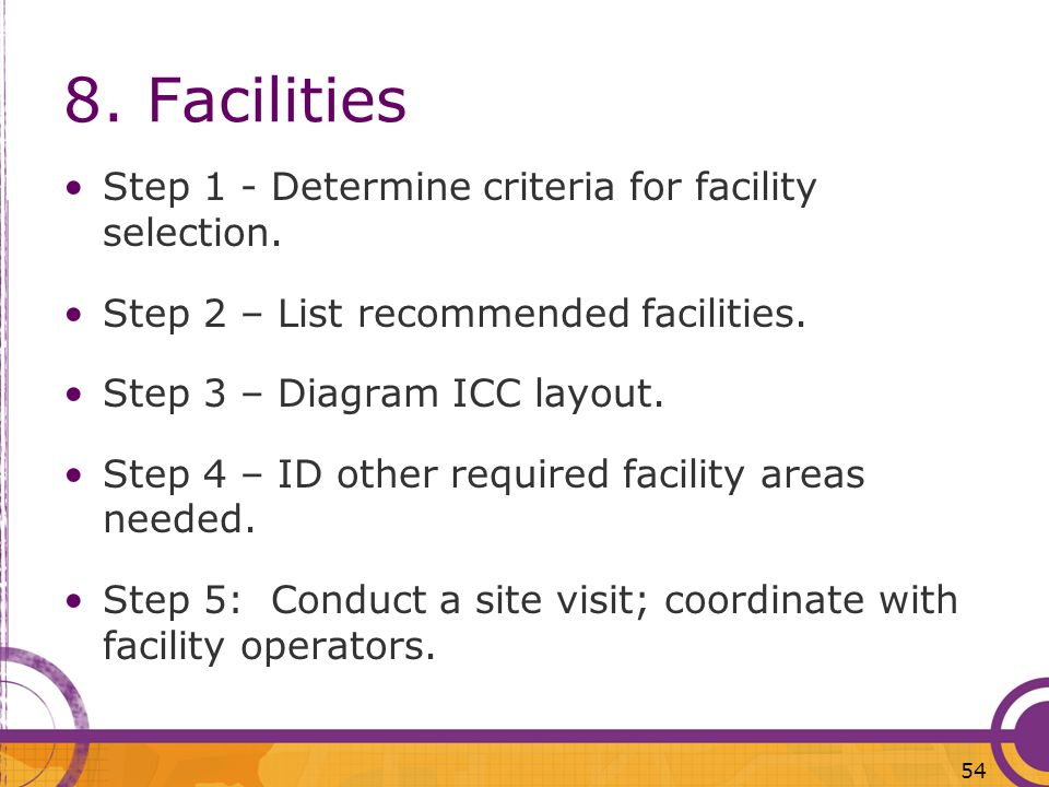 8. Facilities Step 1 - Determine criteria for facility selection.