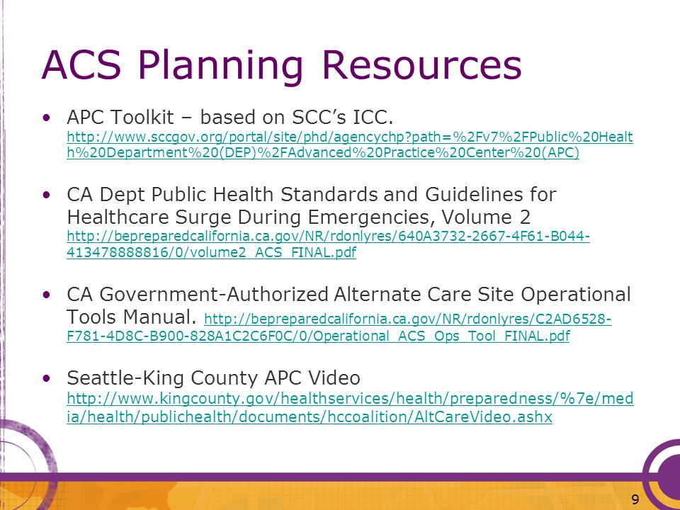 ACS Planning Resources
