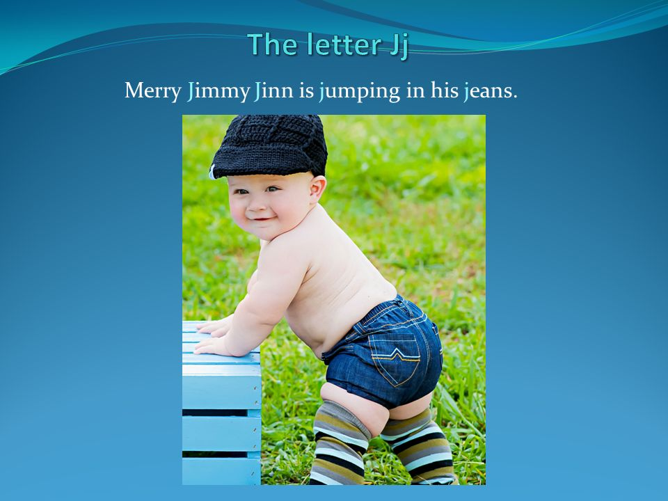 Merry Jimmy Jinn is jumping in his jeans.