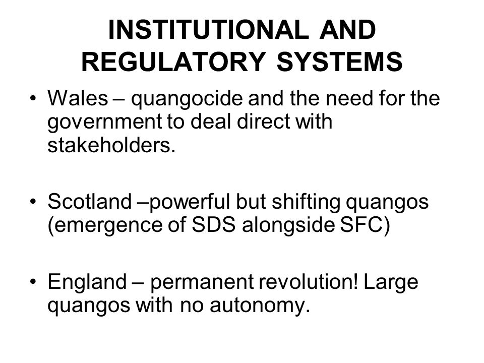 INSTITUTIONAL AND REGULATORY SYSTEMS