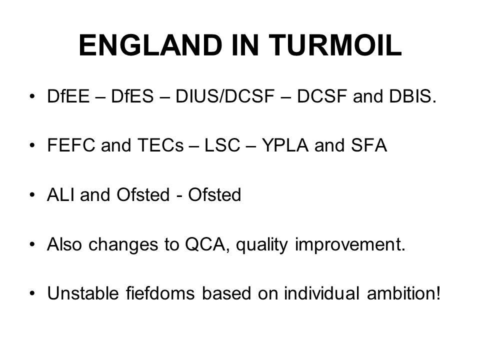 ENGLAND IN TURMOIL DfEE – DfES – DIUS/DCSF – DCSF and DBIS.
