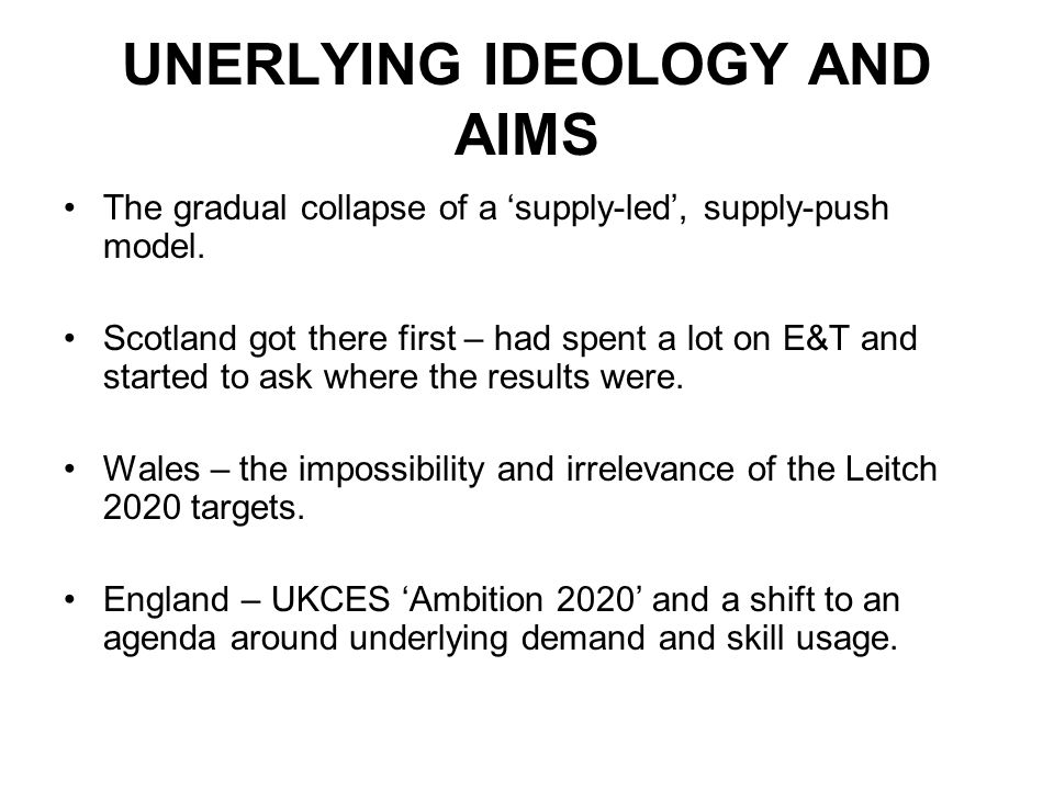 UNERLYING IDEOLOGY AND AIMS