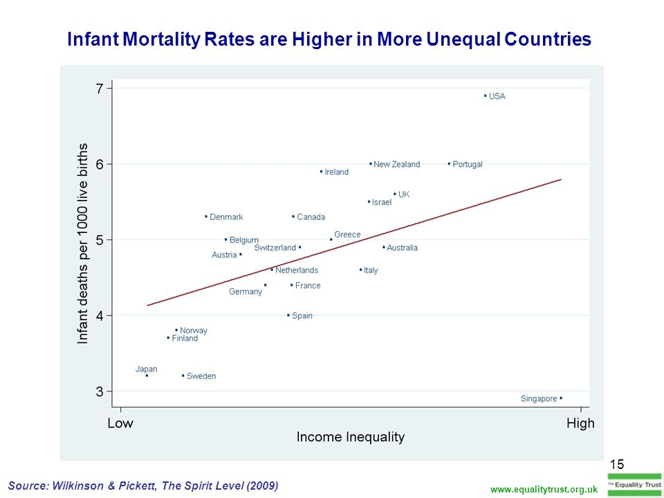 Infant Mortality Rates are Higher in More Unequal Countries