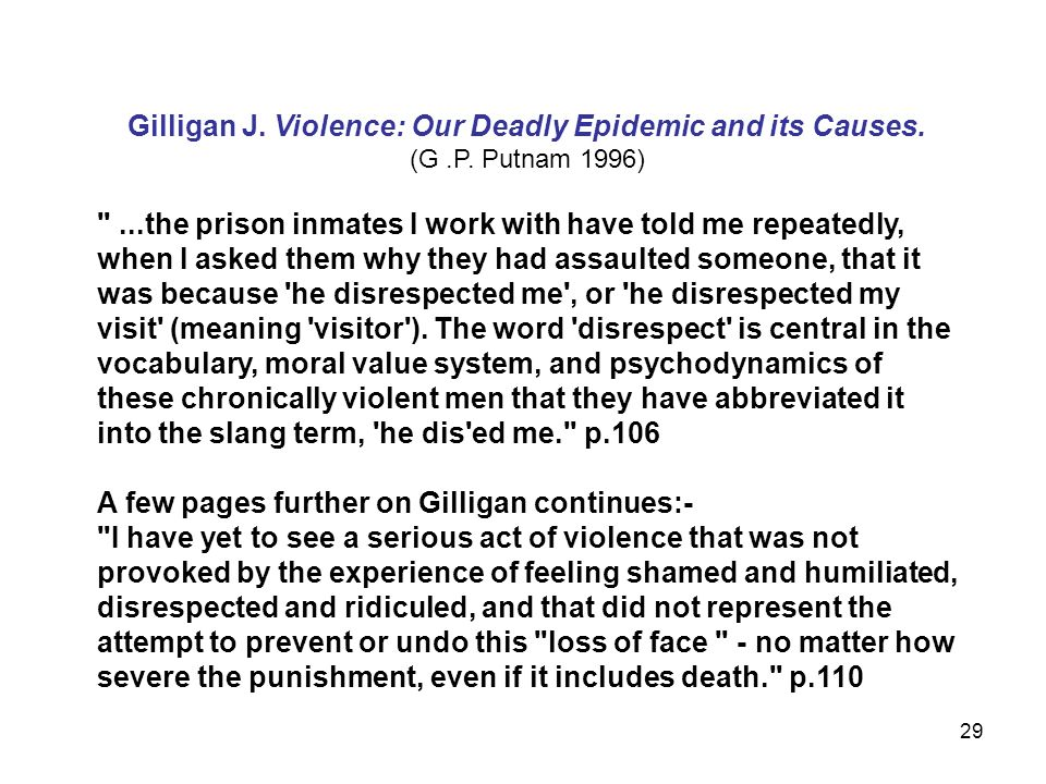 Gilligan J. Violence: Our Deadly Epidemic and its Causes.