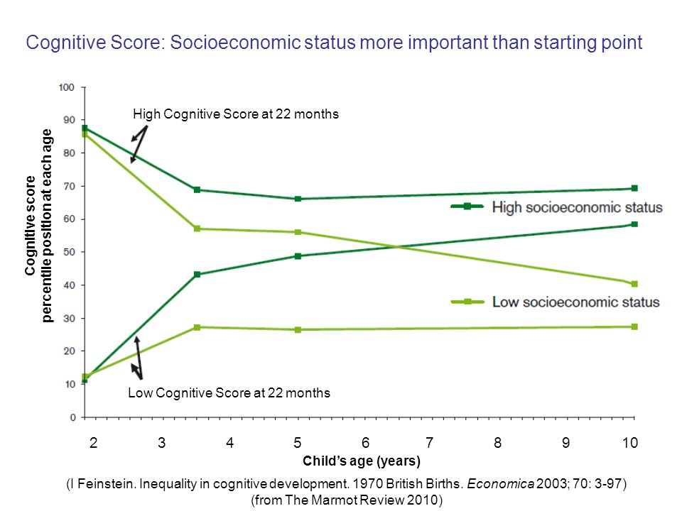 Cognitive score percentile position at each age