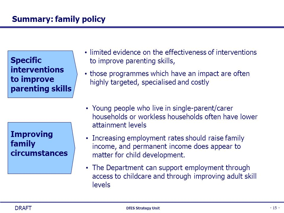 Summary: family policy