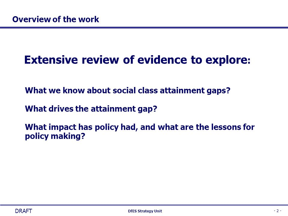Extensive review of evidence to explore: