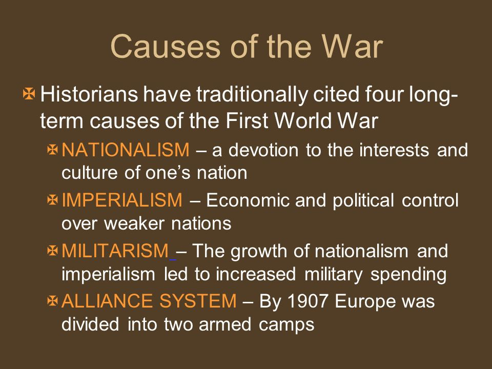 factors that caused world war one essay Militarism, colonialism, and alliances were the underlying causes of world war 1 alliances were of great value in this war mainly whoever had the most people or most advanced weapons would.
