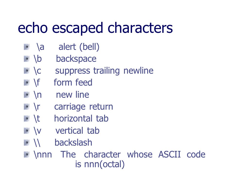 echo escaped characters
