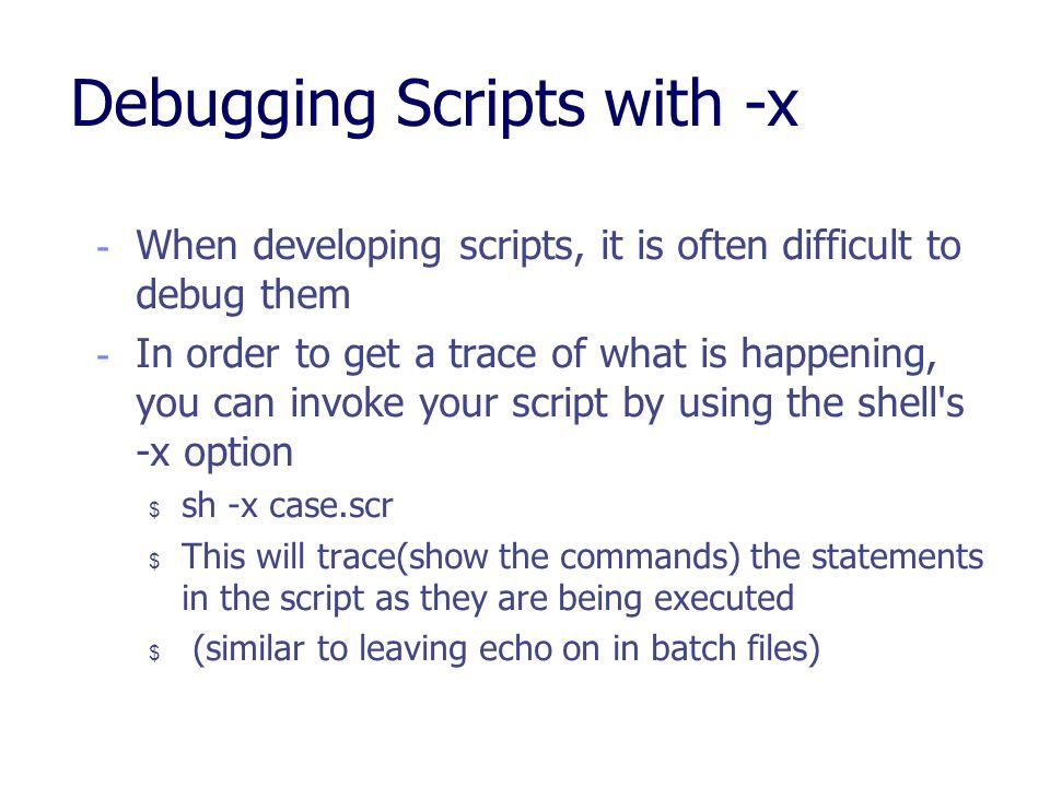 Debugging Scripts with -x