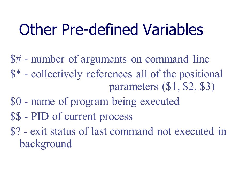 Other Pre-defined Variables