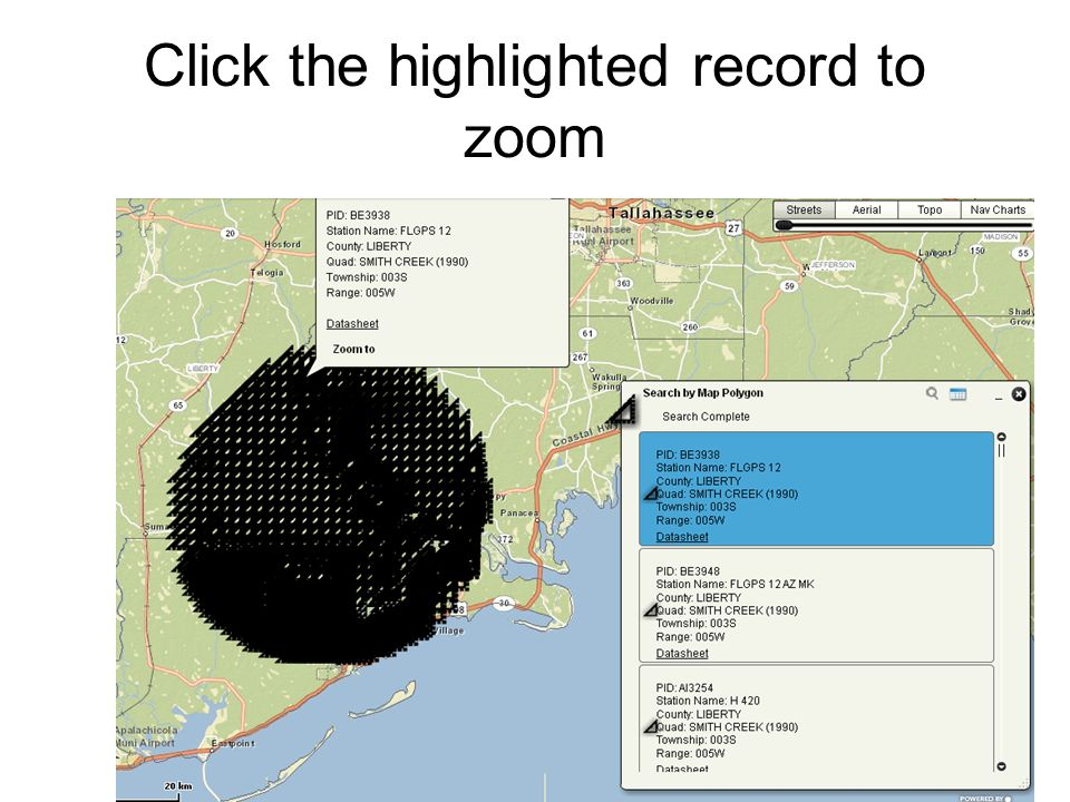 Click the highlighted record to zoom