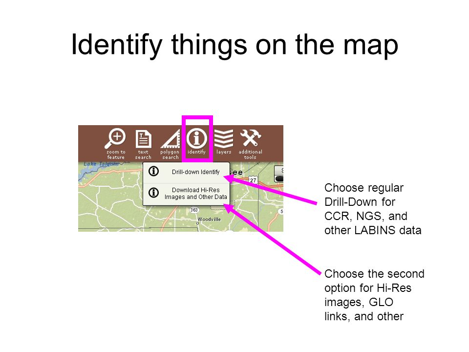 Identify things on the map