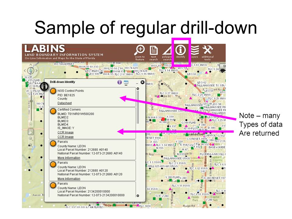 Sample of regular drill-down