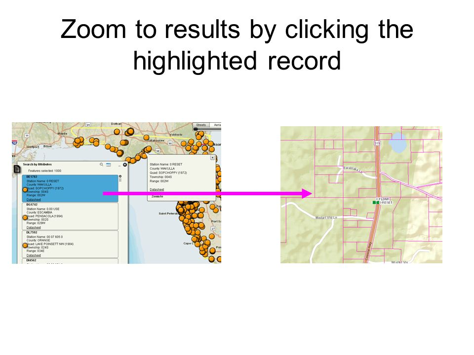 Zoom to results by clicking the highlighted record