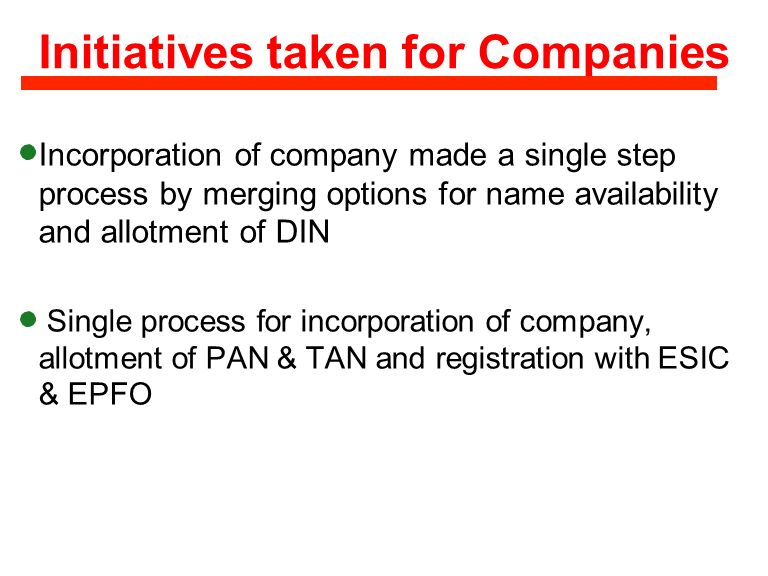 Initiatives taken for Companies