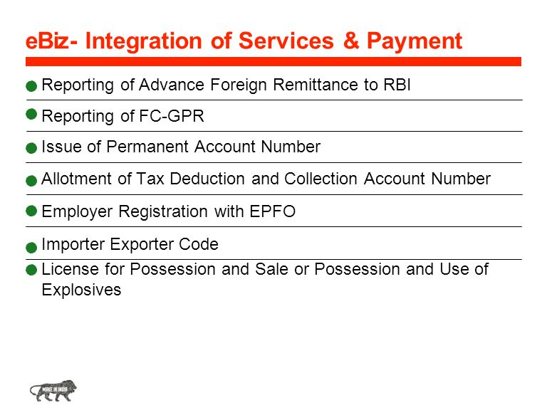 eBiz- Integration of Services & Payment