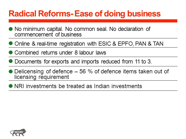 Radical Reforms- Ease of doing business