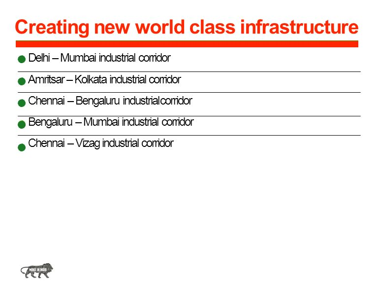 Creating new world class infrastructure