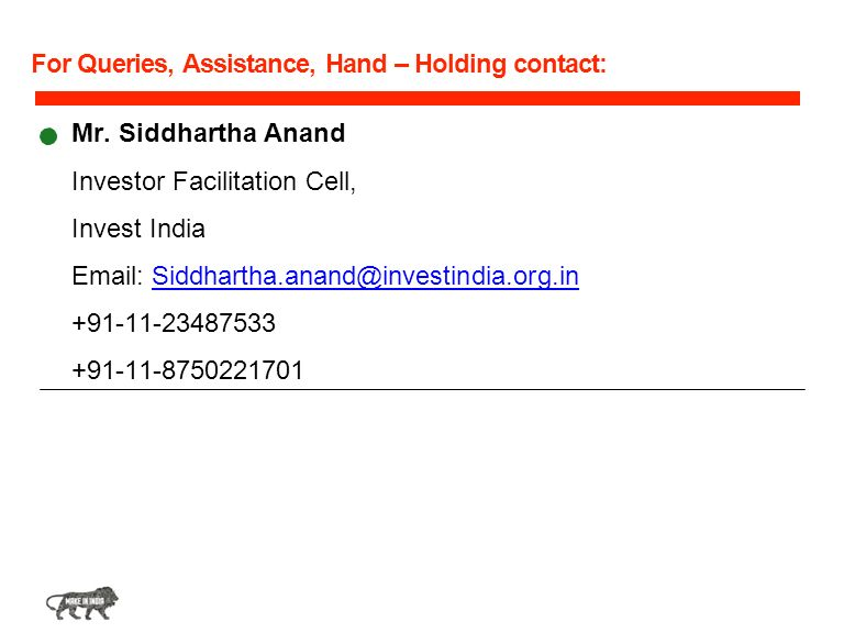 For Queries, Assistance, Hand – Holding contact: