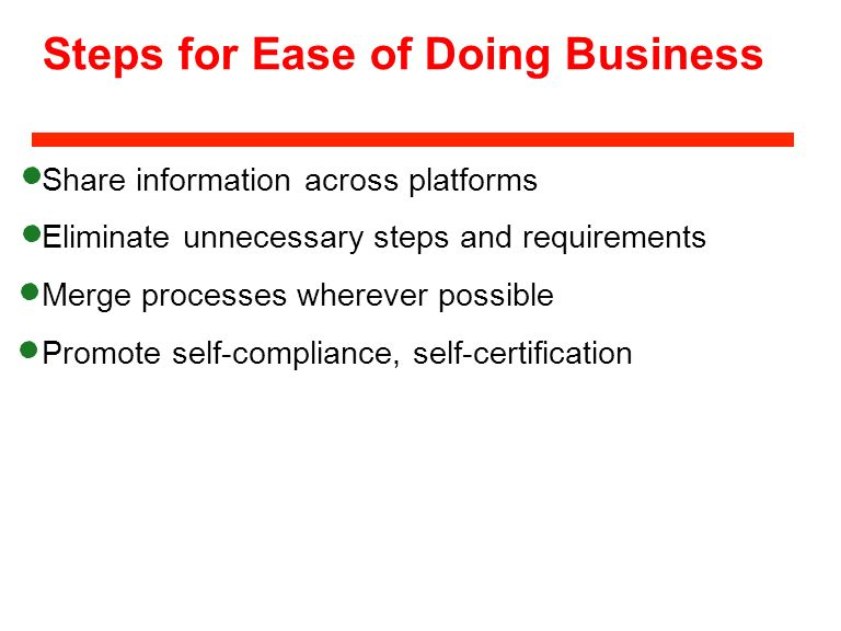 Steps for Ease of Doing Business