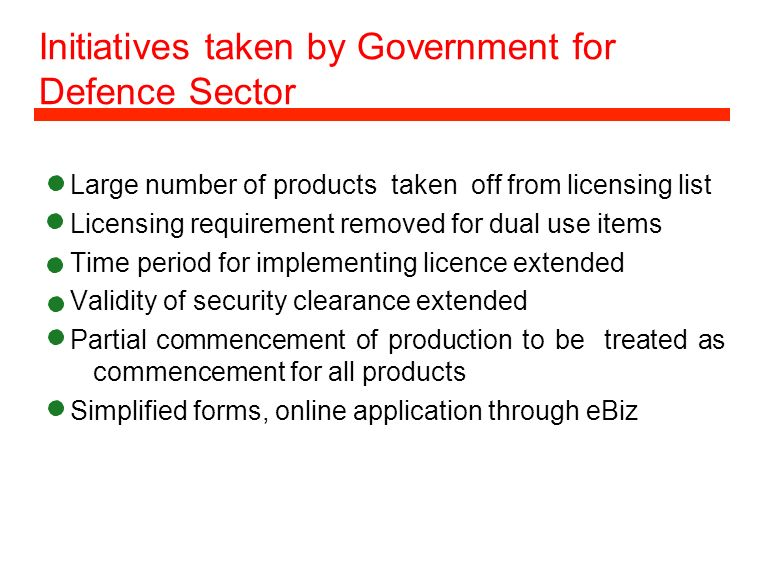 Initiatives taken by Government for Defence Sector