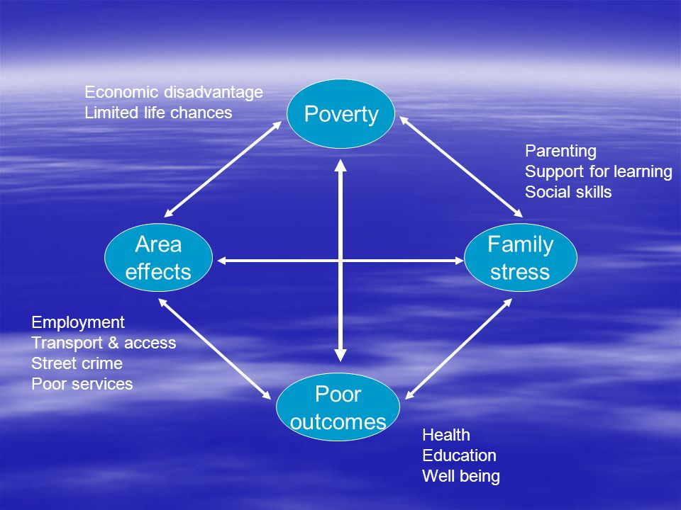 Poverty Area effects Family stress Poor outcomes Economic disadvantage