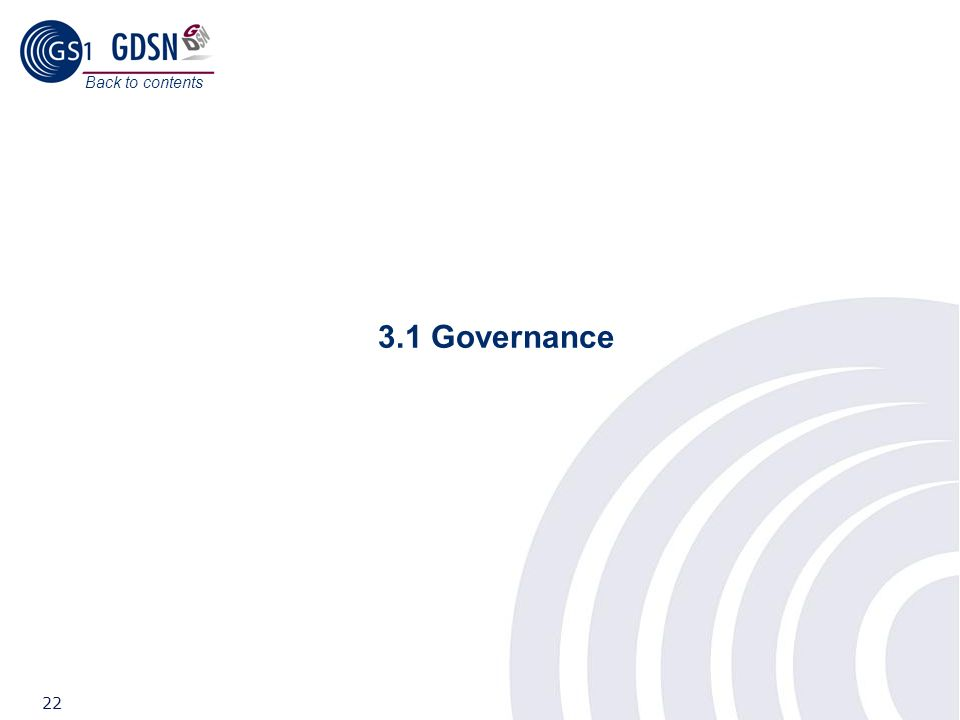 Back to contents 3.1 Governance