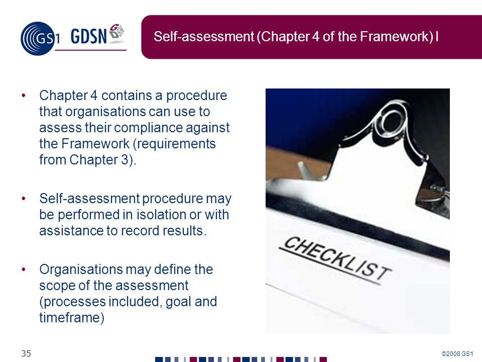 Self-assessment (Chapter 4 of the Framework) I