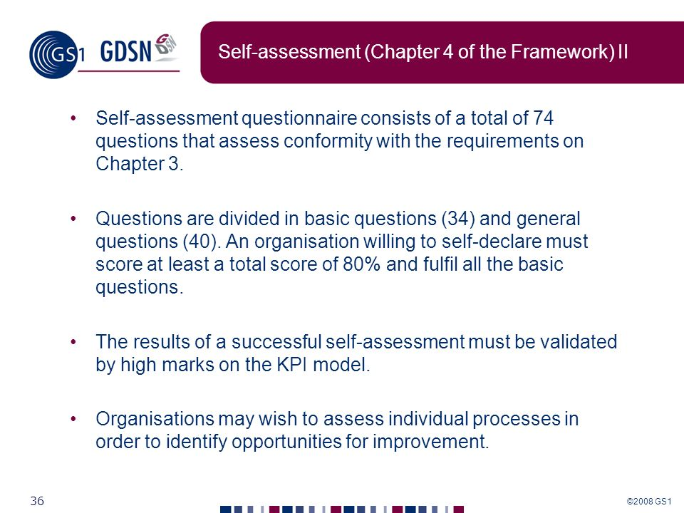 Self-assessment (Chapter 4 of the Framework) II