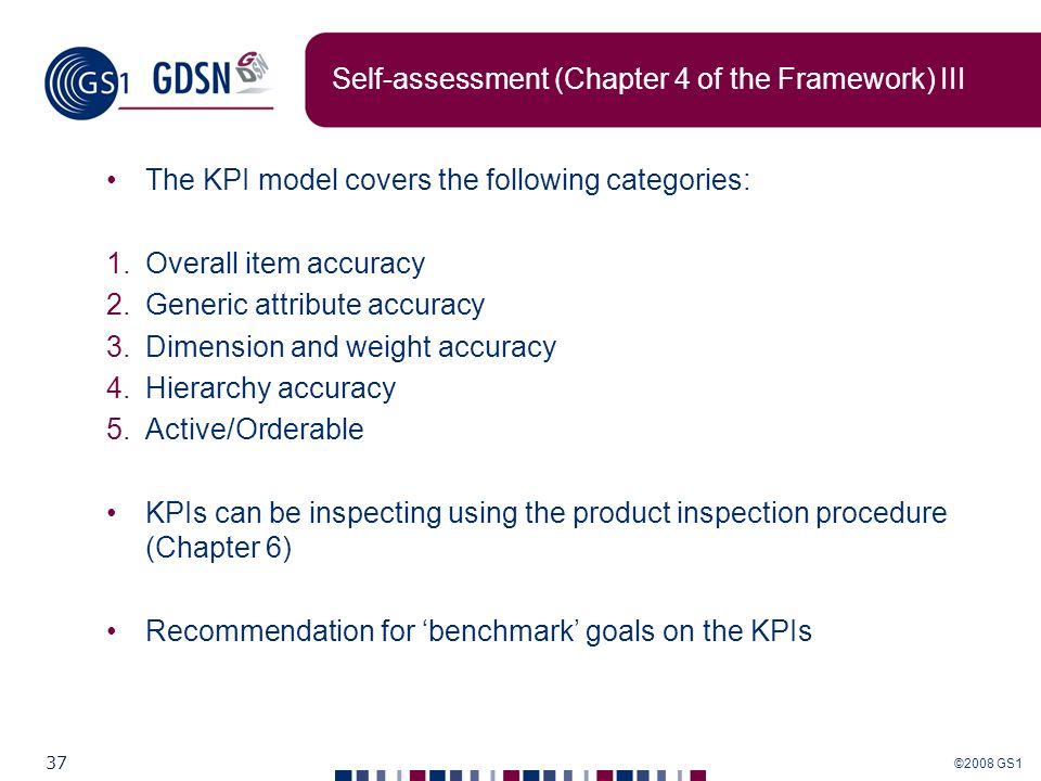 Self-assessment (Chapter 4 of the Framework) III