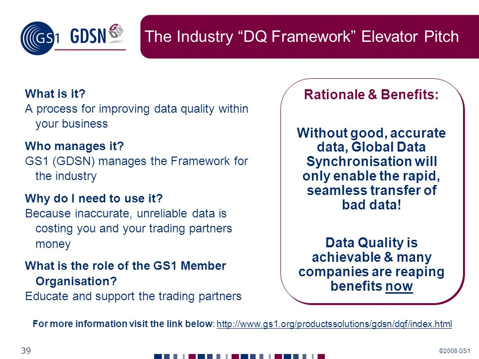 The Industry DQ Framework Elevator Pitch