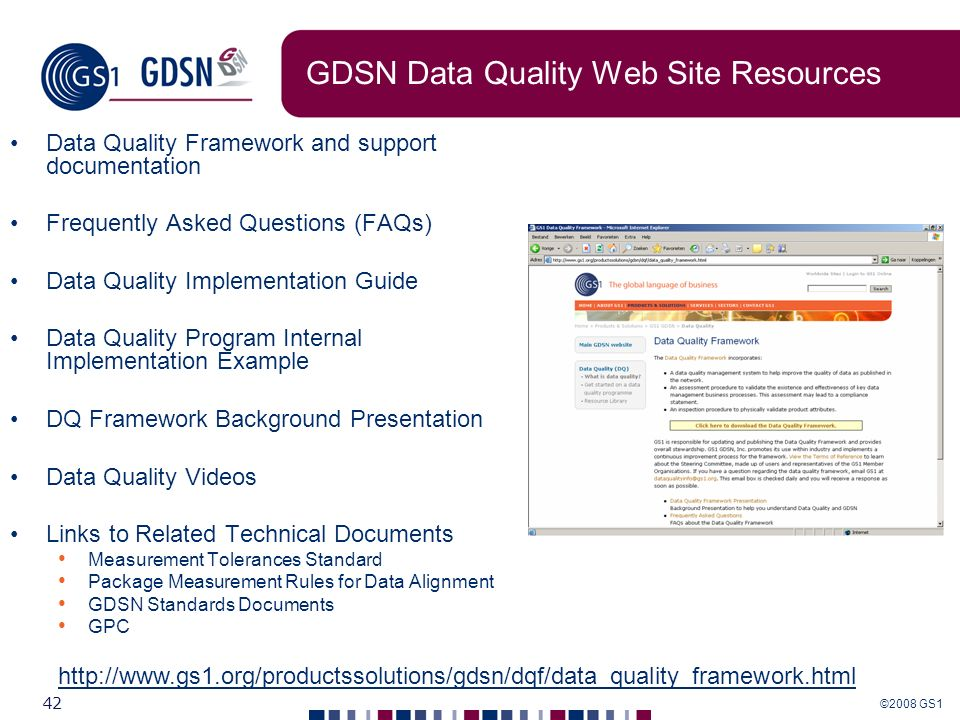 GDSN Data Quality Web Site Resources