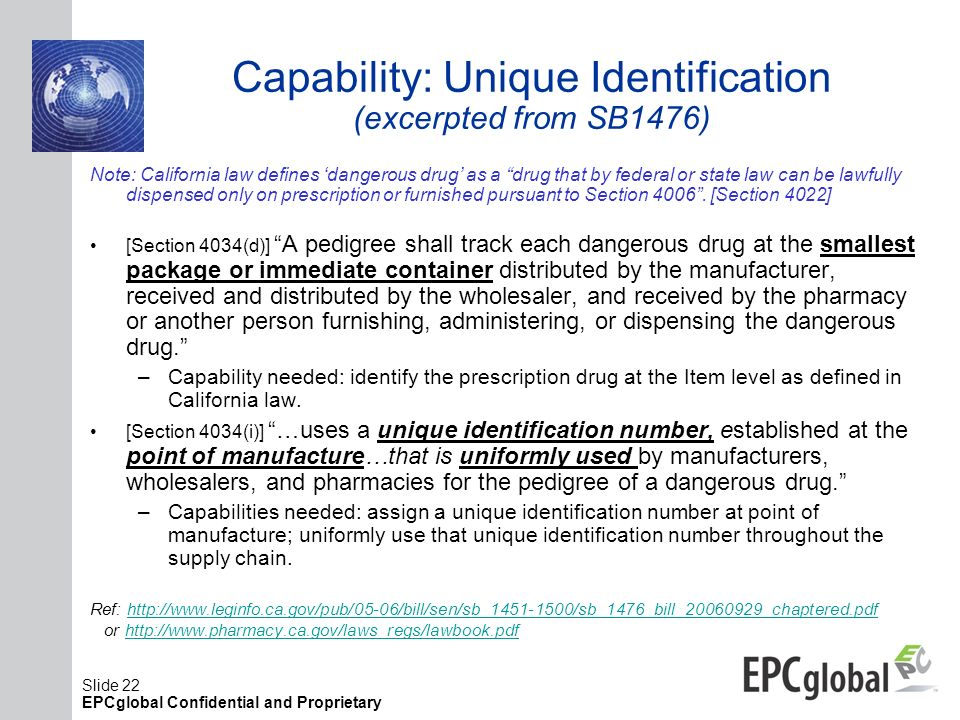 Capability: Unique Identification (excerpted from SB1476)