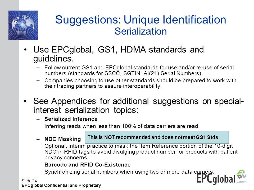 Suggestions: Unique Identification Serialization