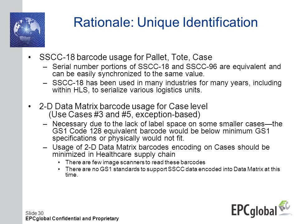 Rationale: Unique Identification