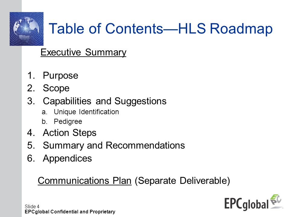 Table of Contents—HLS Roadmap