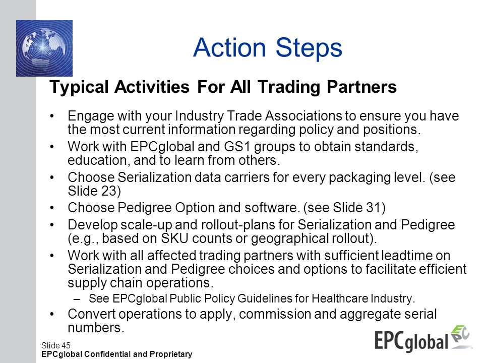 Action Steps Typical Activities For All Trading Partners