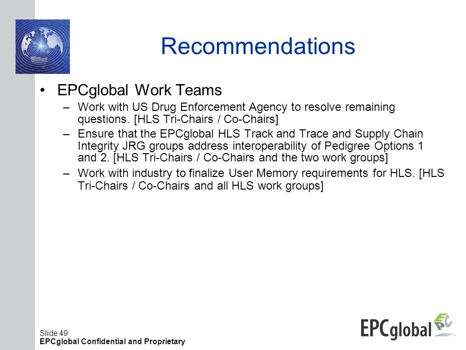Recommendations EPCglobal Work Teams